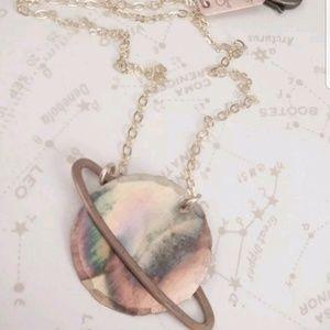 Jewelry - Mini Saturn Pendant Necklace Brass and Copper